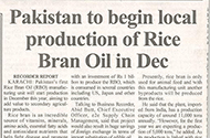 Pakistan to begin local production of rice bran oil in Dec